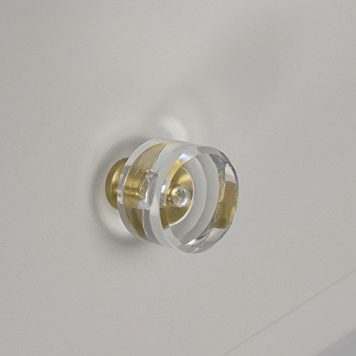 #G-100 CKP Brand Elegance Glass Collection 1-1/8 in. (29mm) Clear Glass Knob with Satin Brass Base - 10 Pack by CKP (Image #4)