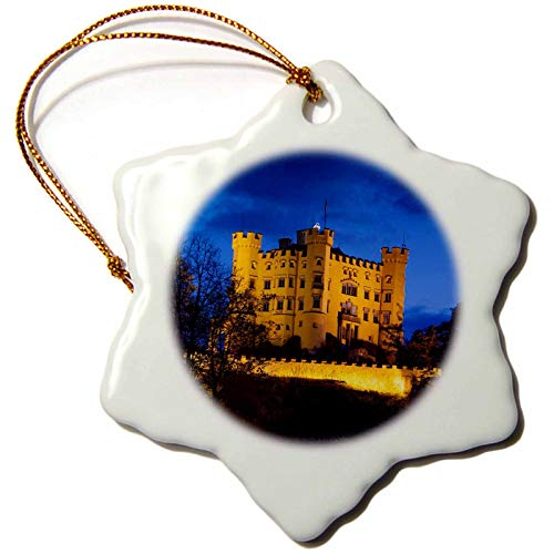 (3dRose Germany, Bavaria, Schloss Hohenschwangau Castle, Dawn Snowflake Ornament 3