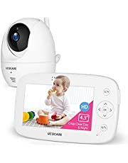 【2021 Upgraded】Video Baby Monitor with Camera and Audio, Baby Camera Monitor, UCOCARE Remote PTZ Baby Monitor No WiFi, 2 Way Audio, Night Vision, Motion Detection, Auto Tracking, Temperature Monitor, 300m Range