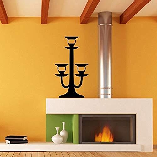 Candlestick Art Candle Holder Triple Tier Flame Tall Wall Decals Decor Vinyl Sticker - Triple Candlestick