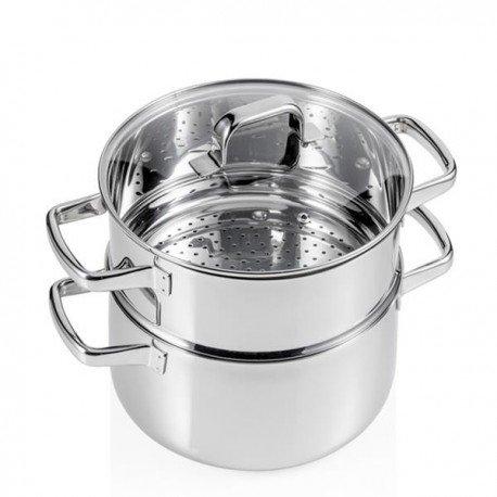Brandani 55914 Mammamia Stainless Steel Steam Cooker, Multicolor