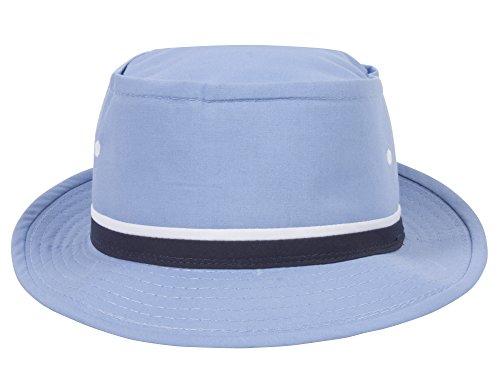 (TOP HEADWEAR Packable Pork Pie Ribbon Bucket Hat - Light Blue - X-Large)