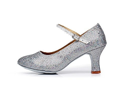 ShangYi Modern dance shoes women's adult dance shoes friendship dance sequins soft bottom Latin shoes, with height 7cm Silver
