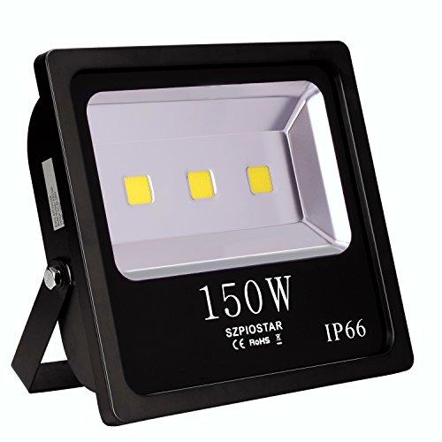SZPIOSTAR 150W Outdoor LED Flood Light Cool White 15000 Lumens 400W HPS Bulbs Equivalent Waterproof IP66 Light Fixtures For Court Yard Patio