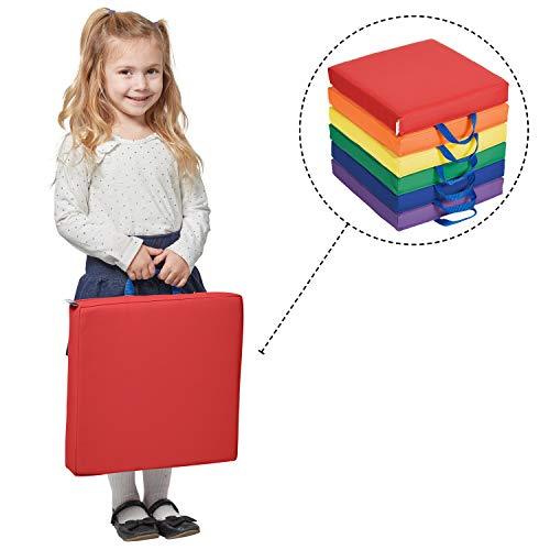 ECR4Kids SoftZone Floor Cushions with Handles, 2 Deluxe Foam, Square, Assorted, (6-Pack)