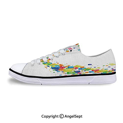 Sneakers for Ladies Multicolored Cubes Future Inspired Art Low Top Canvas Shoes]()