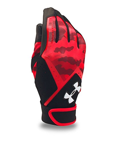 Under Armour Boys' UA Clean Up Graphic Print Batting Gloves Youth Medium Red (Red Youth Graphic)