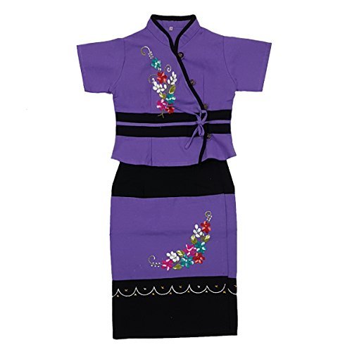 ARTIIDCO Beautiful Woven Cotton Ethnic Thai Girl Dress with Embroidered Details 2 to 3 Year ()