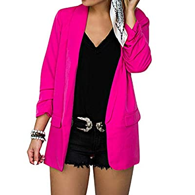 BUZZFASHION Women's Long Sleeve Solid Open Front Blazer Cardigans With Pockets at Women's Clothing store