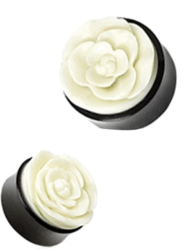Dynamique 00g Pair of Rose Hand Carved Bone Inlay Organic Horn Saddle Fit Plugs ()
