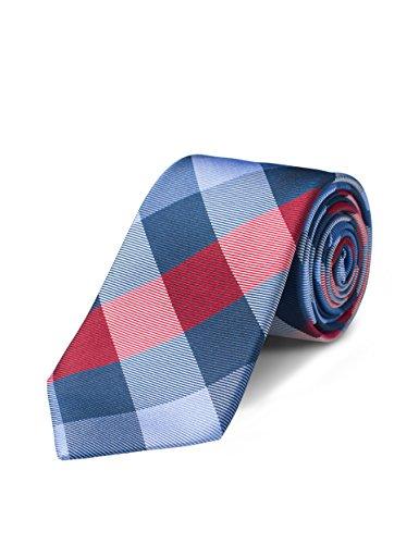 Blue Plaid Tie - Origin Ties Mens Fashion Red/Blue Skinny Tie Handmade 3 Inch Gingham Plaid 100% Silk Textured Tie with Gift Box