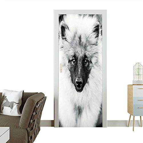 (Homesonne Waterproof Decoration Door Decals Gray Keeshound,Keeshond,Keeshonden Dog Wolfspitz Close Up Black and White Portrait Perfect Ornament W35.4 x H78.7 INCH)