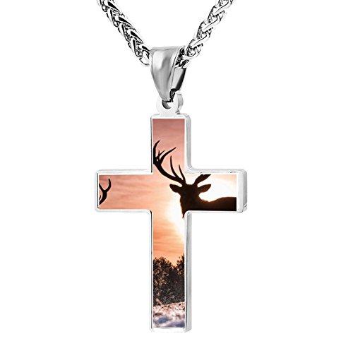 Gjghsj2 Cross Necklace Pendant Religious Jewelry Deer Setting Sun For Men Wome ()