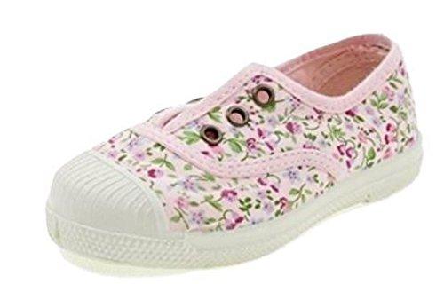 Natural World Zapatos DE Algodón con Flores Fondo Caucho 471541 Rosa Rosa floreale