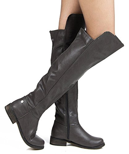 RF Medium Calf Knee High Hidden Pocket Riding Boots Black PU Size.7.5