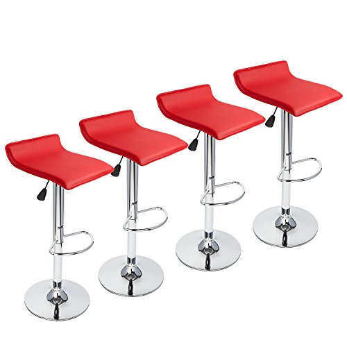 Used, Red Bar Stools Set of 4,Hydraulic Adjustable Swivel for sale  Delivered anywhere in USA