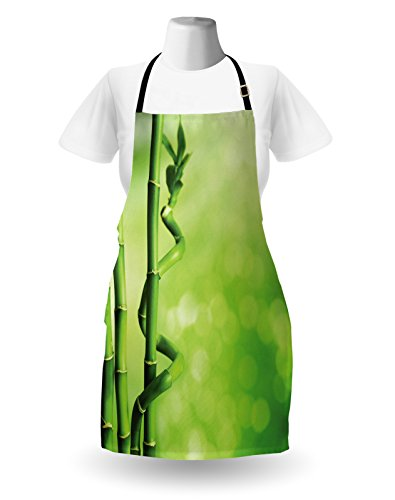 Lunarable Green Apron, Bamboo Stems Nature Ecology Sunbeams Soft Spring Scenic Spa Health Relaxation, Unisex Kitchen Bib Apron with Adjustable Neck for Cooking Baking Gardening, Green Pale Green by Lunarable (Image #1)