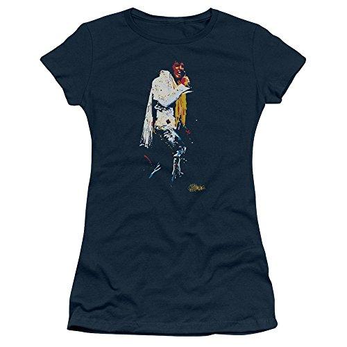 Elvis - Yellow Scarf Juniors T-Shirt In Navy, Medium, Navy (Elvis Scarves)