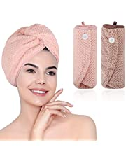 Ręczniki do suszenia włosów, m zimoon ręcznik do włosów owijanie mikrofibra turban włosów ręcznik super chłonny czepek do włosów do owijania głowy ręczniki (2 szt., brązowe i różowe)