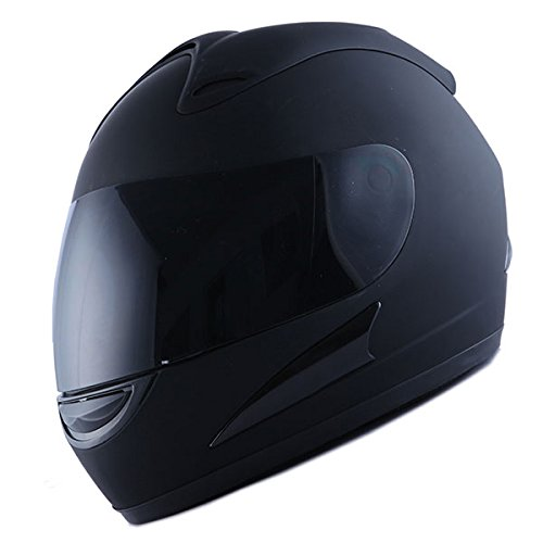 Motorcycle Street Bike Matt Black Full Face Helmet + Two Visors: Smoked & Clear by Power Gear Motorsports