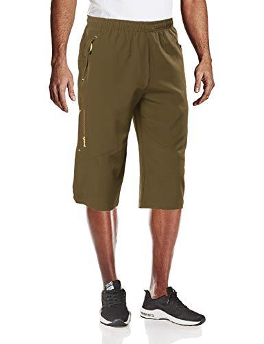 MAGCOMSEN Camping Shorts Men Quick Dry Capri Pants Men Long Shorts Knee Length Pants Khaki