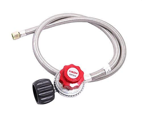 KIBOW 0~30PSI High Pressure Adjustable Propane Regulator w/4FT Stainless Steel Braided Hose-Type1 (QCC1) and 3/8 Female Flare Swivel Fitting