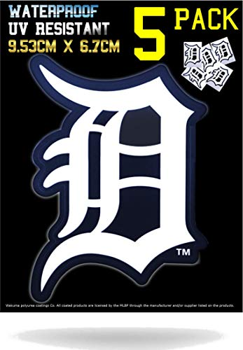 5 Pack Detroit Tigers Vinyl Decal Stickers | Waterproof & UV Resistant Ideal for Cars | Decorate Baseball Gear Team Helmet Cornhole Hard Hat Lunchbox Phone Case Laptop Wall Mug Cup Gift Box