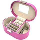 Vlando Small Mirrored Jewelry Box Organizer Storage Case for Rings Earrings Necklace Jewelries, Best Gift for Girls (Roseo)