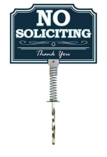 DISH NANNY (New) No Soliciting Sign for House | Dynamic Yard Sign for Home, House and Business | Two Sides | Made with Metal Stake (Blue) by DISH NANNY