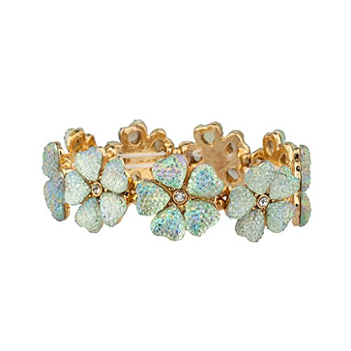 [Lux Accessories Caviar Crystal Flower Floral Statement Stretch Bracelet] (Costume Caviar)