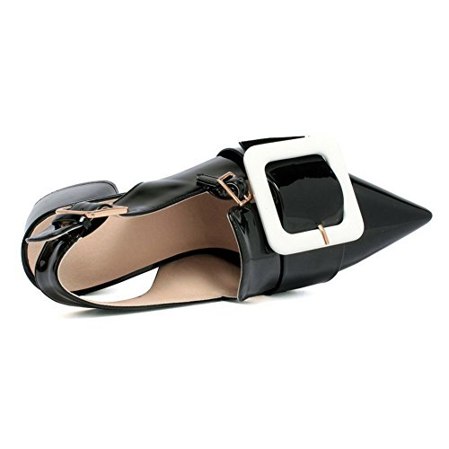 AmoonyFashion Womens Buckle Closed Toe Kitten-Heels PU Assorted Color Sandals Black 64aicA