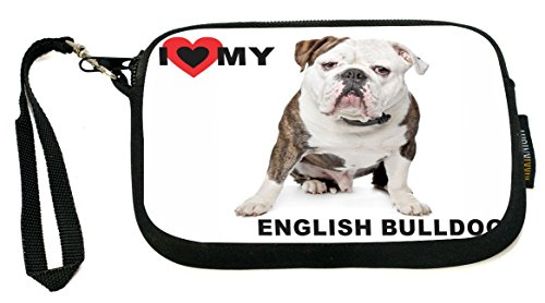 UKBK I Love My English Bulldog Brown Color Neoprene Clutch Wristlet with Safety Closure - Ideal case for Camera, Universal Cell Phone Case etc. by Rikki Knight (Image #5)