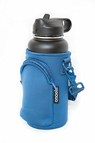 Onoola 32oz Pocket Carrier for Hydro Flask Type Bottles with Adjustable Straps Neoprene Sleeve/Pouch / Bag - Also Great for Lifeline Fifty Fifty, Nalgene, Thermo Flasks