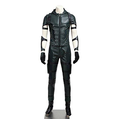 CosplayDiy Men's Costume for Green Arrow Season IV Oliver Queen Cosplay -