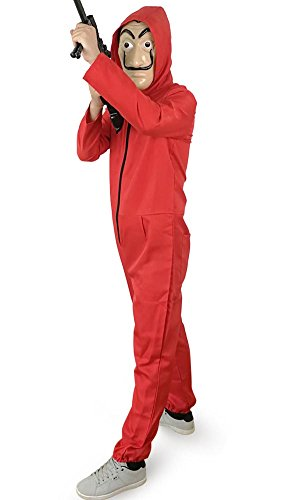 KUFV Salvador Dali Cosplay Costume for La Casa De Papel Red Overall Jumpsuits with Mask -