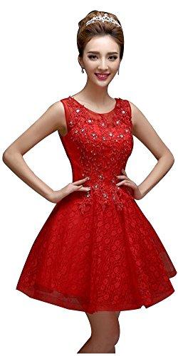 Drasawee Pizzo Collare Prom Appliqued D'onore Damigella Impero Rosso Mini Da Ballo Abito Abito BYwXqaIq