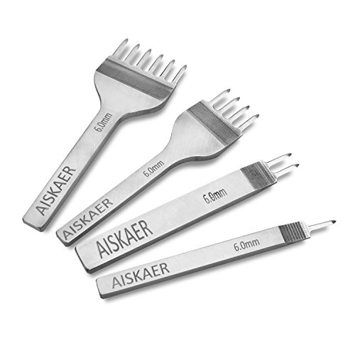 Aiskaer White Steel 6mm 1/2/4/6 Prong DIY Diamond Lacing Stitching Chisel Set Leather Craft Kits (6mm)