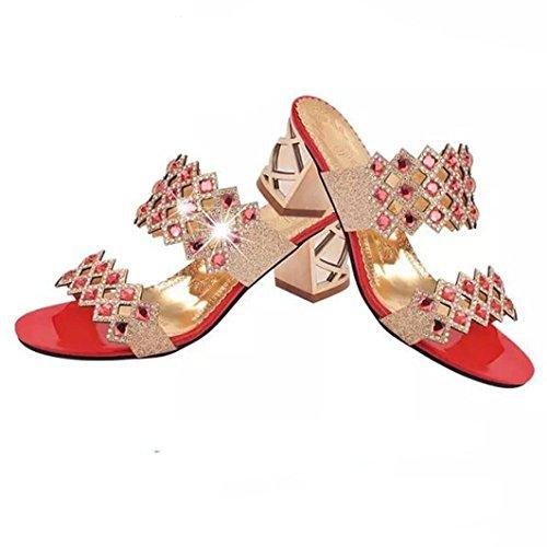Verano de Para Pearl Vestir Sandalias Playa de QinMM Rojo Chanclas Baño Mujer Alto Zapatos de Tacón 1vtwx1Tq7