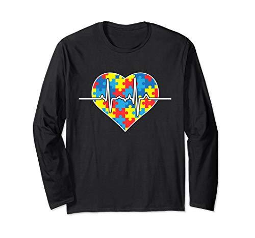 Autism Puzzle Heartbeat Long Sleeve Autism Awareness Shirts