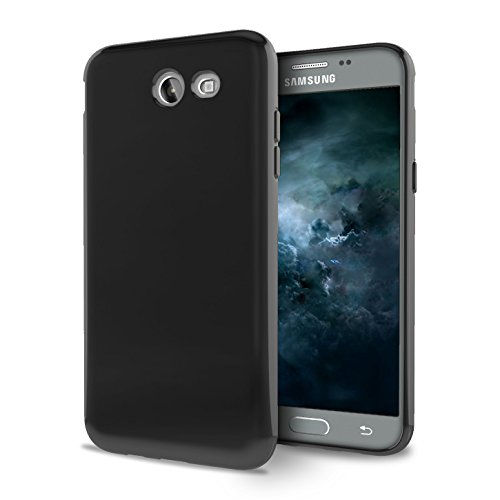Samsung Galaxy J3 Eclipse Case - Soft TPU [Slim Fit] Silicone Rubber Gel Protective Cover - [Black] and Atom LED
