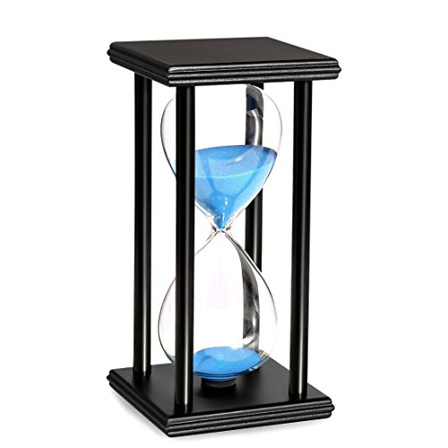 BOJIN 10 Minute Hourglass Wooden Black Stand Hourglass Sand Timer Clock for Office kitchen Decor Home, Blue Sand (15 Min Sand Timer)
