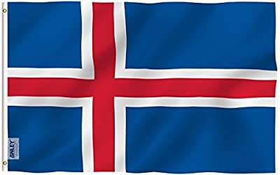 Anley Fly Breeze 3x5 Foot Iceland Flag - Vivid Color and UV Fade Resistant - Canvas Header and Double Stitched - Iceland National Country Flags Polyester with Brass Grommets 3 X 5 Ft