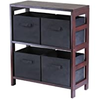 Winsome Wood Capri Wood 2 Section Storage Shelf with 4 Black Fabric Foldable Baskets