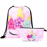 Pink Unicorn Pretty Gift Drawstring Bag for Girls, Stylish Glitter Unicorn Backpack