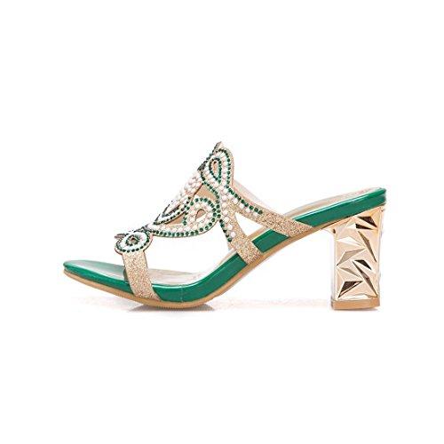 Scarpe con AIKAKA e Estate da Strass Tacco Green Tacco sandali Alto Alto Primavera Donna 0qpa0