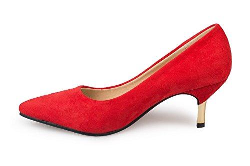 AllhqFashion Damen Mattglasbirne Ziehen auf Spitz Zehe Mittler Absatz Rein Pumps Schuhe Rot
