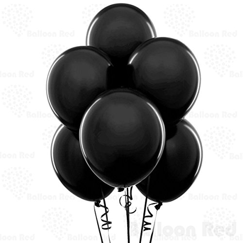 10 Inch Latex Balloons (Premium Helium Quality), Pack of 100, Onyx Black (Pink And Black Damask Party Supplies)