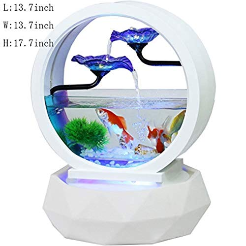 LDKFJH Statue Abstract Living Room Creative Fish Tank Sculptures Water Ornaments,Home Decoration Tabletop Fountain with Light Auspicious Glass Fish Tank Opening Gifts New House Figurine /17.7 Inch (Sculpture Abstract Fish)
