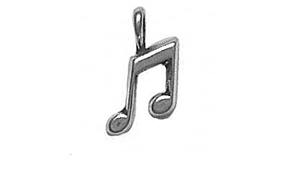 Sterling Silver Girls .8mm Box Chain Musical Eighth Note Pendant Necklace
