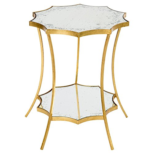 Estee Hollywood Regency Gold Leaf Solar Side Table by Kathy Kuo Home